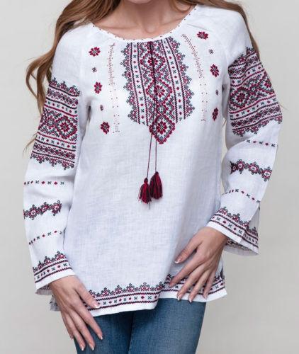 Vyshyvanka damen Ukrainian Embroiderot blouse Weiß linen rot lack pattern S-XL