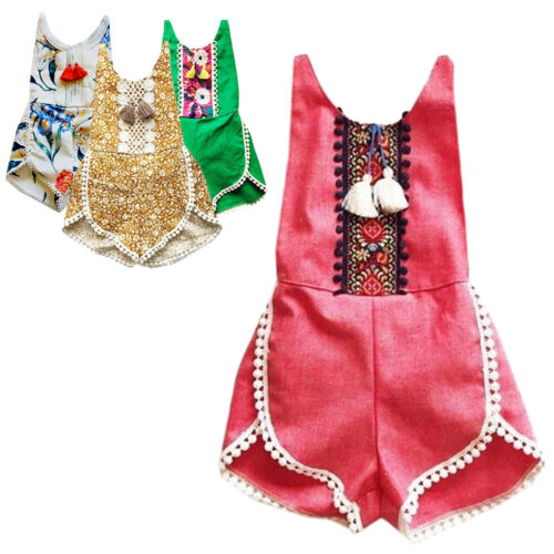 Baby Girls Kid Romper Sleeveless Floral Tassel  Bodysuit Jumpsuit Clothes Outfit