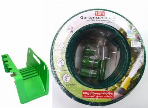 Wasserschlauch mit Wandschlauchhalter Halterung Für Gartenschlauch 15m 1//2 Zoll