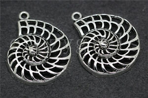 3/10/50pcs Tibetan Silver Beautiful Hollow Snail shell Charms Pendant 35x28mm