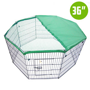 8-Panel-Foldable-Pet-Playpen-36-034-W-Cover-Green