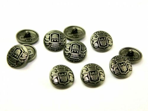 Dill Metal Redondo Imitación Crest botones Eneldo - 330805-M