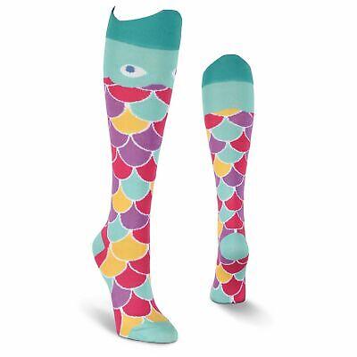 K.Bell Knee High Fish Bright Teal Purple Socks Ladies Cotton Blend Socks New
