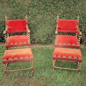 Antique-Couple-Throne-Armchairs-Footstools-Barley-Twist-Double-Headed-Eagle-WOW