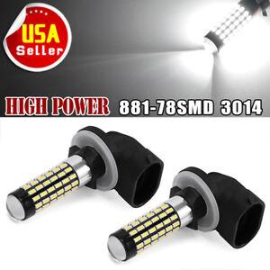 2X-White-6000K-881-LED-Bulb-78SMD-3014-Fog-Driving-light-DRL-862-889-894