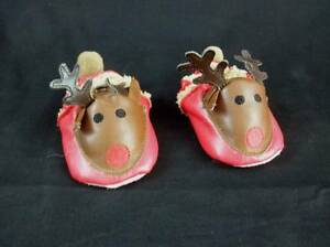 MudPie-Baby-Reindeer-Shoes-Red-Brown-Leather-Musical-0-6-Months-LN