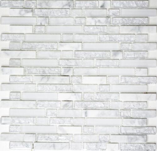 Mosaik Fliese Glasmosaik Natursteinmosaik mix weiss Wand Bad Art 87-v1311/_b