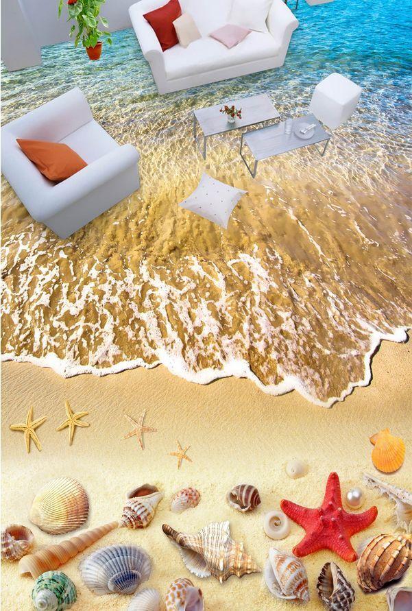 3D beach shell Wave 525 Floor WallPaper Murals Wall Print Decal 5D AJ WALLPAPER