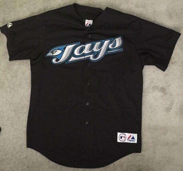 Vintage Majestic BLACK Toronto Blue Jays Mens Large Baseball Jersey Sewn on logo