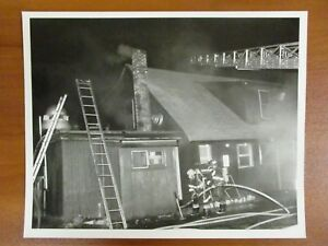 Vintage Glossy Press Photo Natick Ma Fire At Open Hearth