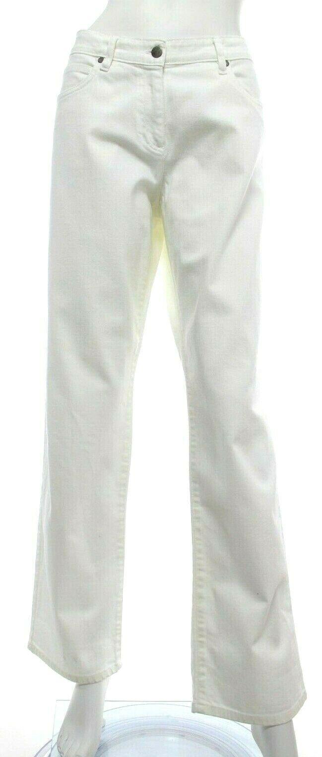 Eileen Fisher Women's L Large White Jeans Straight Leg Full Organic Cotton EUC