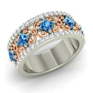 1.31 Ct Princess Diamond Wedding Topaz 925 Sterling Silver Eternity Band Size 7