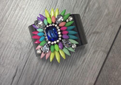 Gigi Zara Shourouk Crystal Gem Cuff Bangle Blue