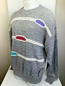 1980-90s-Vintage-Jed-lila-teal-Gray-White-Bill-Cosby-COOGI-Herren-L-Pullover