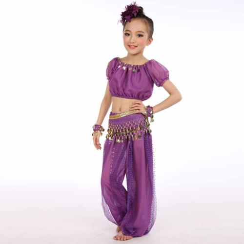 Kids Girls Professional Indian Dance Dresses Set Belly Dance Halloween Costumes