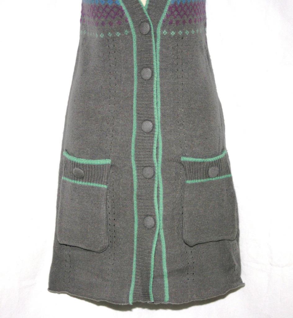 American Retro Cardigan Cardigan Cardigan Sweater Grey Short Sleeve Wool Long Size 1 NWT  149 c2d18b