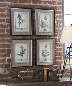 Antique-Style-Botanical-Wall-Art-Prints-Grey-Flowers-Burlap-Framed