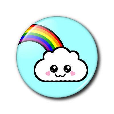 25mm button badge - Cute Kawaii Cloud and Rainbow