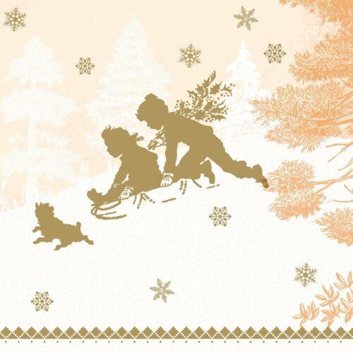 Airlaid Serviette Schlittenfahrt in Terrakotta Weihnacht 50 Stück 40 x 40 cm