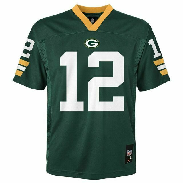 Green Bay Packers # 12 Aaron Rodgers Jersey Youth Size Large NFL