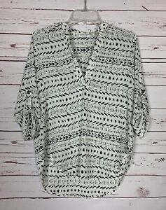 LUSH-Boutique-Women-039-s-XS-Extra-Small-Ivory-Black-Boho-Summer-Blouse-Shirt-Top