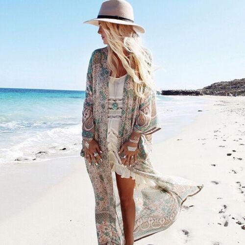 Damen Boho Bikini Cover Up Maxi Vertuschung Sommer Strand Lang Kaftan Cardigan