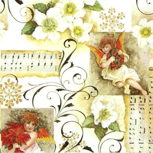 4x Paper Napkins for Decoupage Decopatch Christmas Angelic Chorus
