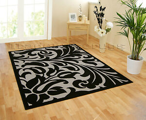 SMALL-LARGE-BLACK-GREY-WARWICK-DAMASK-PATTERNED-MODERN-TRENDY-RUG