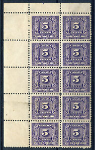 Weeda-Canada-J9-VF-mint-UL-block-of-10-glazed-gum-1930-Postage-Due-5c-CV-250