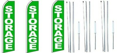 Fresh Produce Windless Flag With Complete Hybrid Pole set 3 pack