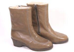 C66-Damen-Lammfellstiefel-Boots-Leder-braun-Gr-37-Stiefeletten-ungetragen