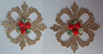 2 Delicately Crafted Embroidery Gold Baroque Motifs Self adhesive