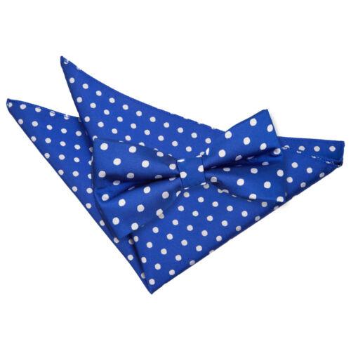DQT Woven Polka Dot Royal Blue Classic Mens Pre-Tied Bow Tie /& Hanky Set