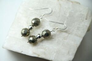 Pyrite-Gold-Faceted-Ball-Natural-Gemstone-925-Sterling-Silver-Earrings-1-1-2-034