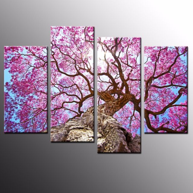 aa18ebeffa9474 FRAMED Landscape Canvas Prints Pink Flowers Purple tree Wall Art  Painting-4pcs