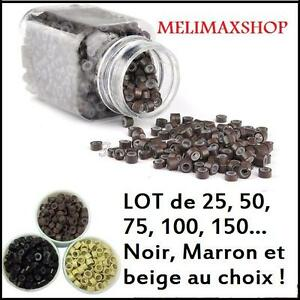 Lot-Anneaux-Silicone-Attache-Extension-Meche-a-froid-25-50-75-100-ou-150
