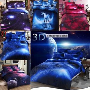 doppelbett gr e 3d steppdecke galaxy bettw sche set nebula mond weihnachten ebay. Black Bedroom Furniture Sets. Home Design Ideas