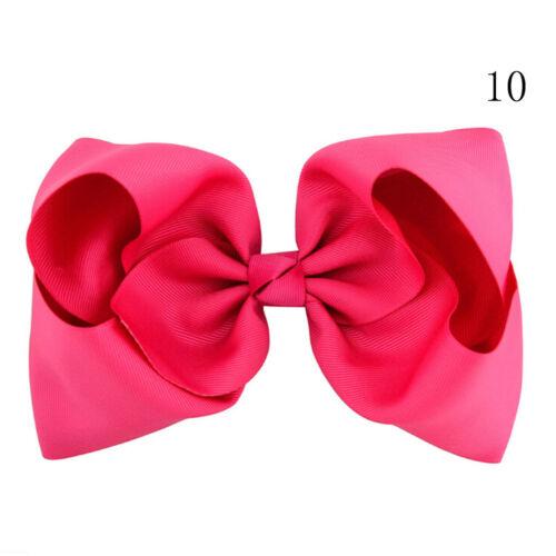8 Inch Large Hair Bows Girls Grosgrain Ribbon Knot Clip Hair Accessories Gift ME