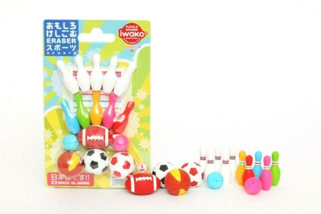Iwako Blue Bowling Ball and Pin Japanese Erasers 1 Ball + 3 pins set