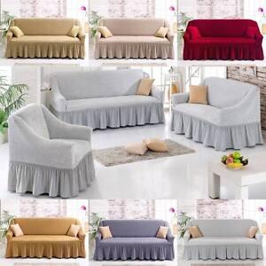 stretch sofabezug sofahusse 1er 2er oder 3er couch sofa bezug husse 6 farben ebay. Black Bedroom Furniture Sets. Home Design Ideas