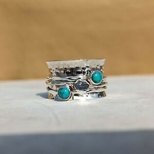 Turquoise-Ring-925-Sterling-Silver-Spinner-Ring-Meditation-Statement-Ring-A341