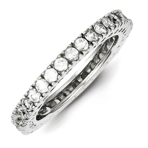 Argent Sterling 925 Poli Round Prong Set Zircone cubique Eternity Ring Band Taille 6-8