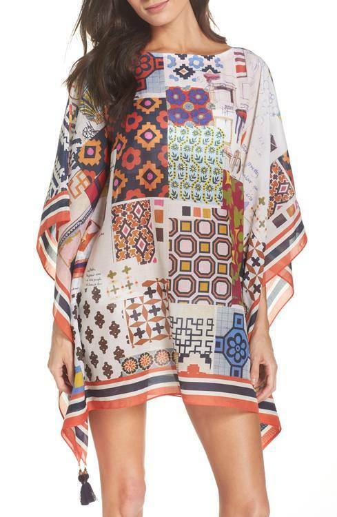 Tory Burch Tunic Dress XS    S Scrapbook Caftan Cover up Beach Swim 0 2 4 2018