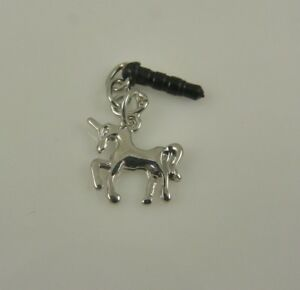 Unicorn-silvertone-charm-cell-phone-or-fits-Ipad-charm-ear-cap-dust-plug