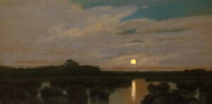 Lrg-Full-Moon-Marsh-American-Pastoral-Oil-Painting-Landscape-Signed-Art-Original