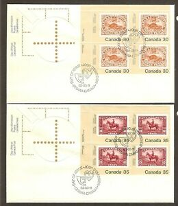 2 CANADA FIRST DAY COVERS - 1982 - BEAVER AND MOUNTIE - PLATE BLOCKS