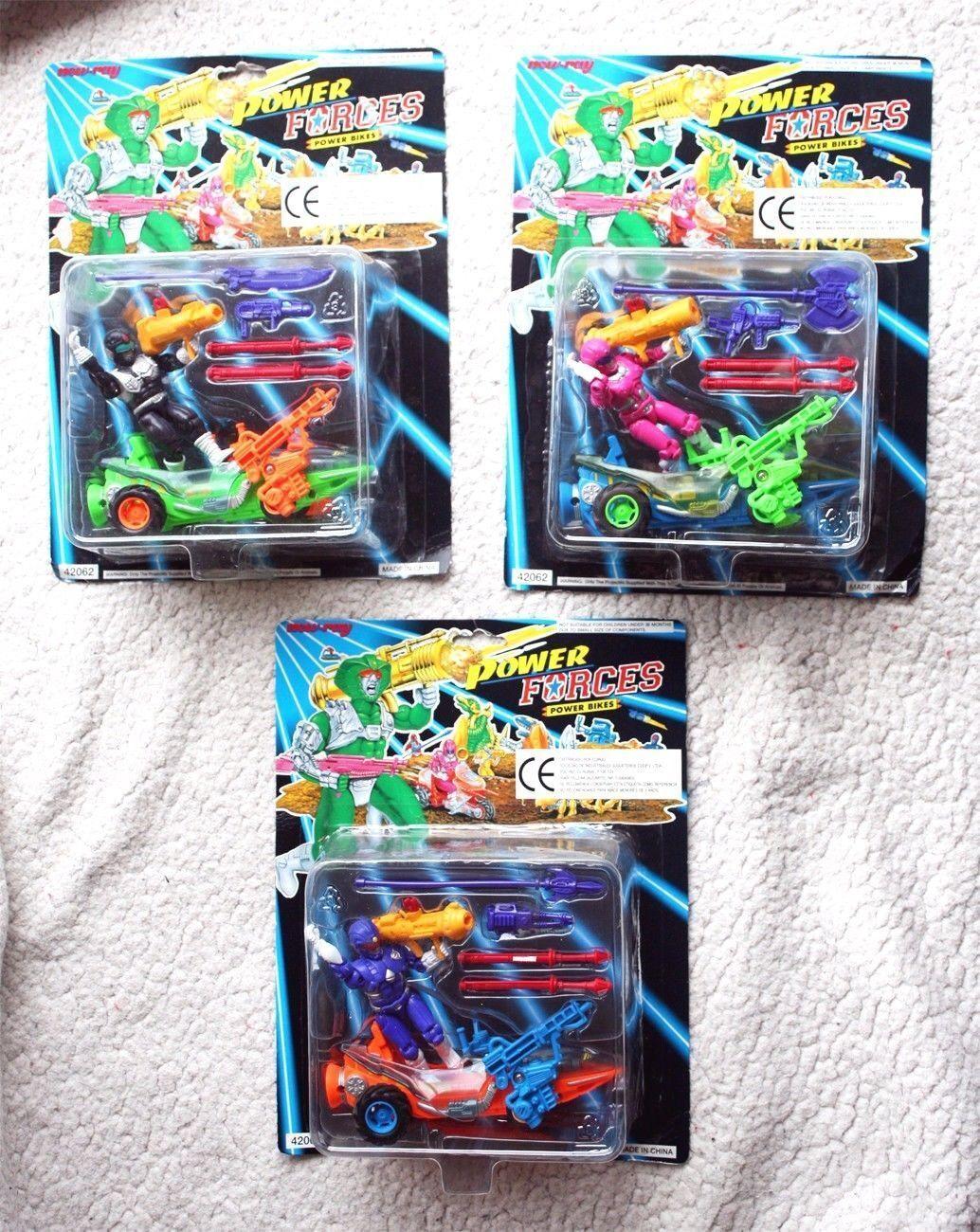 RARE Lot 3 Power Forces cykelRS (1994, Rarer Power Rangers Transformers).BNIB