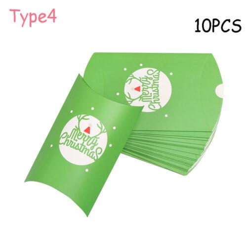 5//10pcs Kraft Paper Pillow Gift Boxes Candy Box Xmas Party Favors Bags
