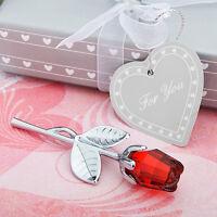 180 Red Crystal Long Stem Rose Wedding Party Event Favor Bulk Lot