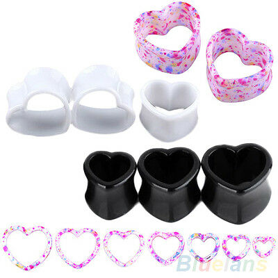 Gothic Cool Funky Love Heart Ear Tunnels Gauges Plugs Earlets Cool Body Piercing